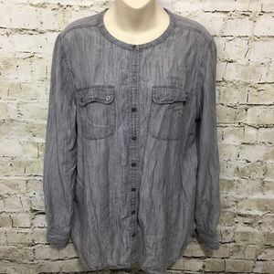 LOFT Gray Space Dyed Linen Blend Button Up E20